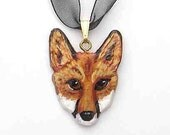 RED FOX Large Mask/Face Handpainted Clay Necklace/Pendant OOAK
