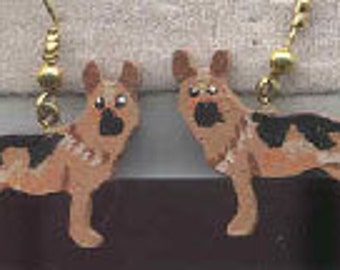Handpainted Lightweight Wood GERMAN SHEPHERD Dog Breed Dangle Earrings