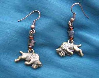 Markdown Sale...BUFFALO Plated Metal Charm Beaded Dangle Earrings....choose gold or silver plate