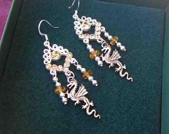 DRAGON FANTASY Chandalier Drop Dangle Earrings w/Amber Swarovski Crystal Findings