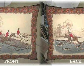 "Markdown Sale.....Antique Look FOXHUNTING II Huntscene Black Border Horse Decorative 17"" Pillow"