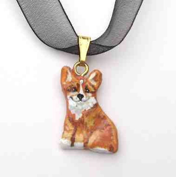 WELSH CORGI II Red Sitting Handpainted Clay Necklace/Pendant