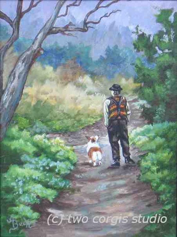 "Print Sale....Welsh Corgi Artwork Matted Print 8 x 10 from Original Painting ""A Slow Walk In The Woods"" by artist Ann Becker"