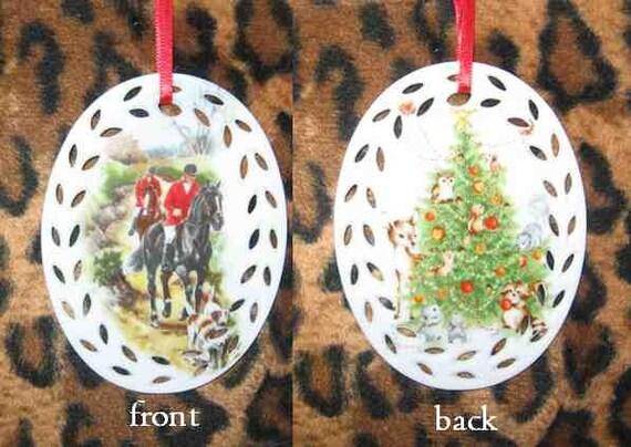 Glazed China HORSE FOXHUNTING Cutout Border Christmas Ornament --NICE--