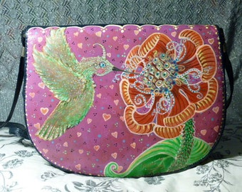 Quick Drink, one of a kind, hand painted purse