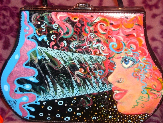 Brain Power, hand painted purse