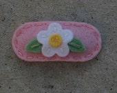 Mini Dainty White Flower Pink Wool Felt Hair Clip