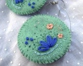 Embroidered Felt Earring: Monet seafoam green