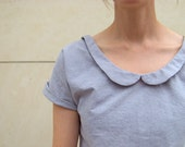 Peter Pan Collar Blouse: grey chambray