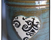 Fresh Tasting Butter in your Lovely Turquoise Butter Crock with Antique Inspired Black and White Flower and Leaf Pattern Heart