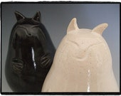 Cat Salt and Pepper Shakers Set-White and Black Glaze