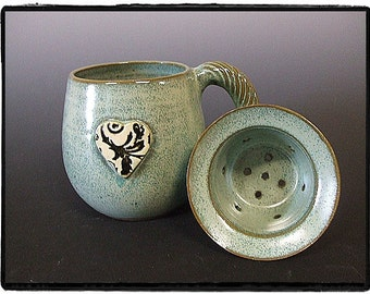 Turquoise Big Mug with Antique Inspired Black and White Flower and Leaf Pattern Heart-Matching Tea Strainer
