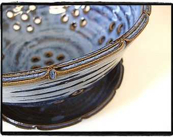 Deep Purple Blue Split Rim Berry Bowl with Plate by misunrie-Made to Order