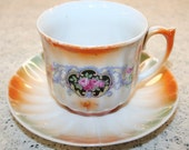 Lovely Vintage Bavarian Floral Lusterware Cup and Saucer