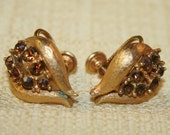 Gorgeous Vintage Amber Rhinestone Gold Plated Screwback Earrings