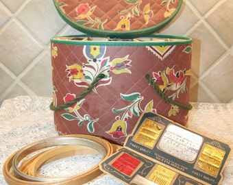 Old Quilted Sewing Basket with Embroidery Hoops, Thread, Needles, Etc.
