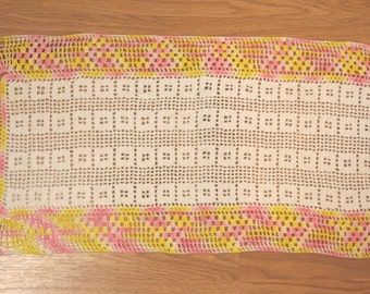 Sweet Vintage Yellow, Pink and White Hand Crocheted Rectangular Doily