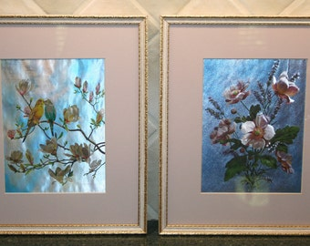 Pair of Lovely Vintage Parakeets and Flowers Framed Foil Prints