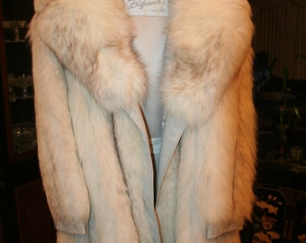 Vintage White Fox and Leather Car Coat / Jacket by BIFANO'S of DALLAS SZ 8 - 10