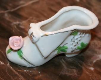 Beautiful Vintage Rose Toe Porcelain Collectible Shoe