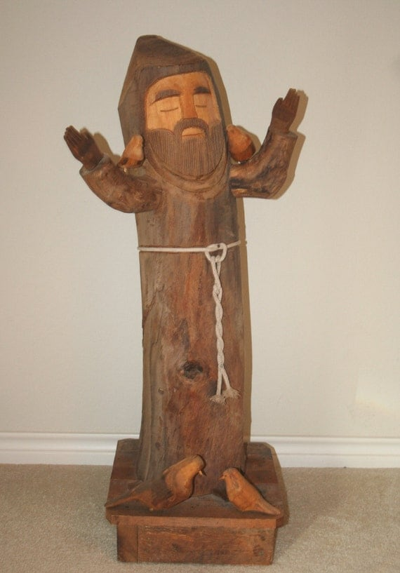 Awesome 3 Ft. ST. FRANCIS of ASSISI Carved Wooden Figure Statue by Ben Ortega
