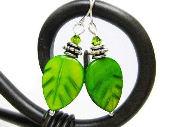 Green Leaf Beaded Dangle Earrings. Swarovski Crystal Lime Green Silver Wire Wrapped Earrings