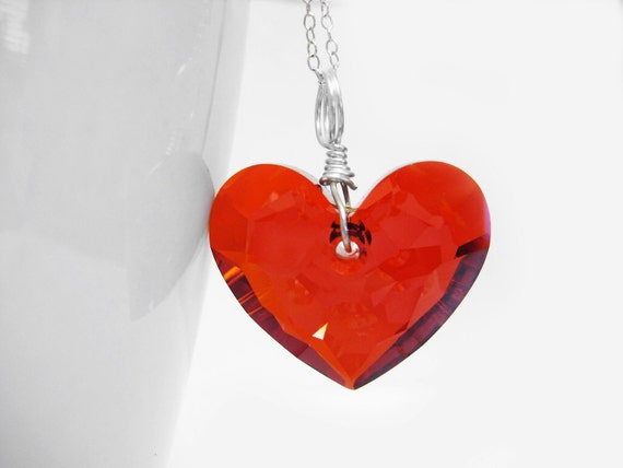 Red Heart Swarovski Crystal Necklace. Silver Plated Wire Wrapped Necklace