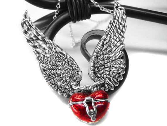 Angel Wing Necklace. Red Heart Shaped Box Necklace. Prayer Box Locket Necklace