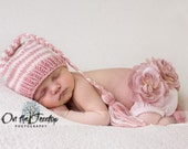 Custom Striped Baby and Newborn Soft Pink and Ivory Stocking Hat with Braid Tassel Professional Photography Prop