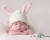 Custom Made Bunny Hat with Adorable White and Pink Bunny Ears for Newborn - Photography Prop