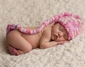 Newborn Hat, Baby Hat, Handmade Long Stocking Pink Sweetheart Hat Professional Photography Prop