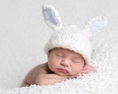 Newborn Hat, Bunny Hat, Boy Bunny Hat, Newborn Bunny Hat, Custom Knit Bunny Hat with White and Blue Bunny Ears Photography Prop