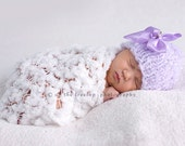 Newborn Hat, Baby Hat, Girl Hat, Handmade Purple Beanie Hat with Adorable Purple Ribbon and Little Matching Flower Photography Prop