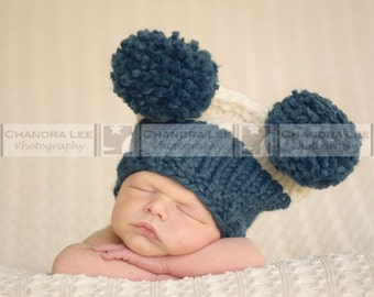 Newborn Hat, Baby Hat, Newborn Boy Hat, Handmade Custom Knit  Flat Top Blue and Cream Big Pompom Hat for Baby and Newborn Photography Prop