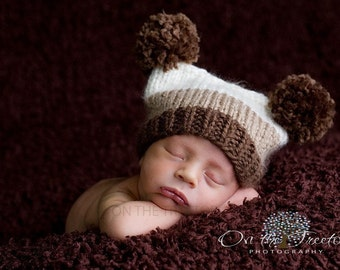 Newborn Hat, Brown, Light Brown and Off White Hat , Custom Knit Baby Hat, Handmade Newborn and Baby Flat Top Hat f,Photography Prop