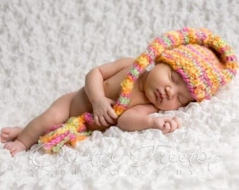 Newborn Hat, Baby Hat, Handmade  Knitted Hat, Custom Knit Stocking Sherbet Hat in Yellow, Orange Green, and Pink  Photography Prop