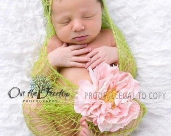 Photography Prop, Green Wrap, Newborn Wrap, Baby Wrap Handmade Green Wrap for Newborn and Baby with Unique Mohair -Photography Prop