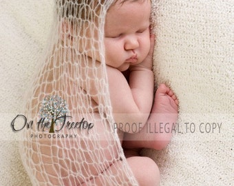 White Wrap, Photography Prop, Newborn Wrap, Baby Wrap, Handmade White Wrap for Newborn and Baby with Unique Mohair -Photography Prop