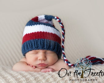 Newborn Hat, Baby Hat, Handmade, Striped Blue Red and White Elf Hat with Braid and Tassel - Photography Prop