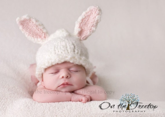 Custom Made Bunny Hat with Adorable White and Pink Bunny Ears for Baby and Newborn - Photography Prop
