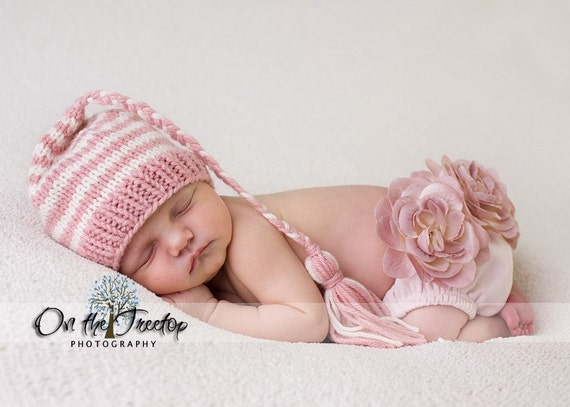 Custom Made Hand Knit  Striped Baby and Newborn Soft Pink and Ivory Stocking Hat with Braid Tassel Professional Photography Prop