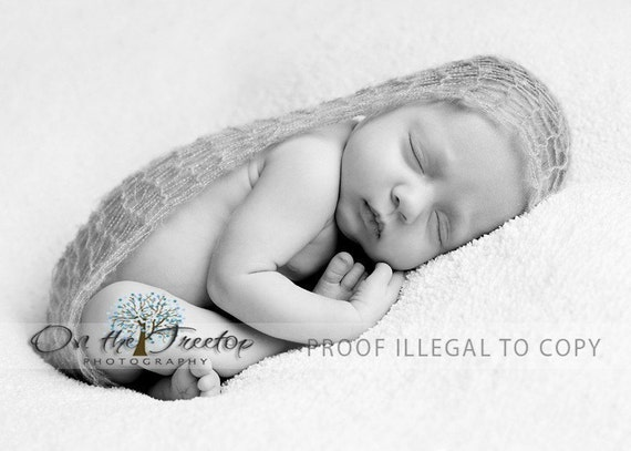 Custom Made Grey Infant ad Baby Wrap with Unique Mohair for Professional Photography Prop