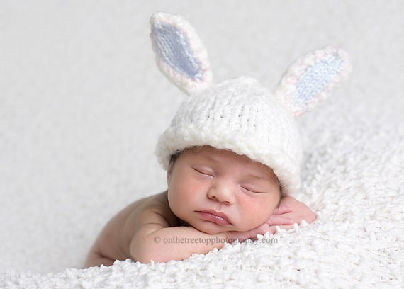 Bunny Hat,  Custom Knit Bunny Hat with Adorable White and Blue Bunny Ears for Newborn and Baby - Photography Prop