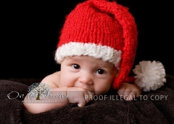"""Ready to Ship 16-18"""" (9M -12M) Custom Knit Red and White Long Stocking Christmas Santa Hat with Pompom for Newborn and Baby"""