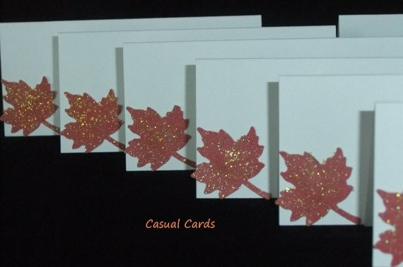 CLEARANCE Autumn Fall Leaf Place Cards Escort Cards
