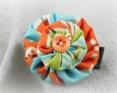 Double Button Blossom Vintage Orange, Blue and Green Fabric...OOAK