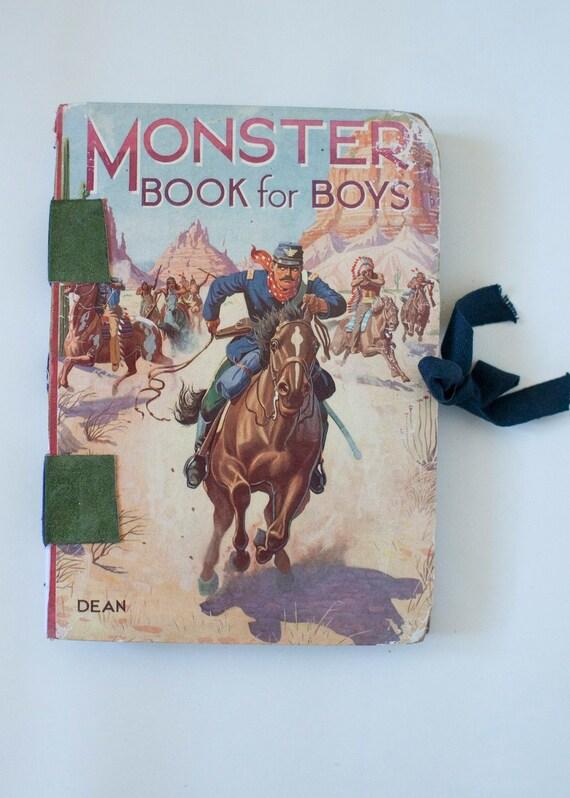 """Handstitched Journal/Sketchbook (made from vintage book)  """"Monster Book for Boys"""""""
