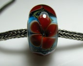 Oggi lampwork bighole bead XL with bright red flowers on an aqua base'' with sterling silver (925) core, Pandora Trollbead Biagi Chamilia style
