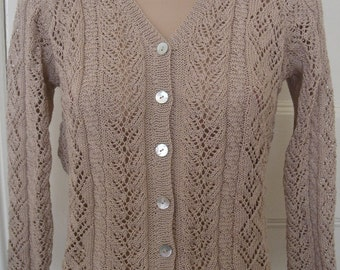 Sale - Cotton hand knitted V-neck Lace and Cable cardigan