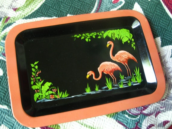 Vintage 1940s pink flamingo tropical  tip tray